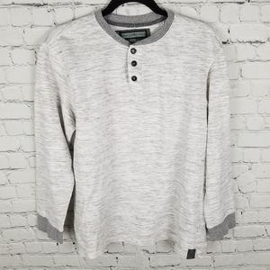 PD&C   space dye gray button collar casual shirt